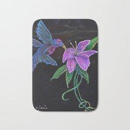 """""""Blue Hummingbird"""" by KC Krimsin Bath Mat"""