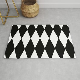 LARGE BLACK AND WHITE HARLEQUIN DIAMOND PATTERN Rug