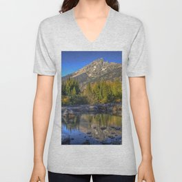 USA Grand Teton HDRI Creeks Nature Mountains park forest landscape photography Stones HDR Creek brook Stream Streams mountain Parks Forests Scenery stone Unisex V-Neck