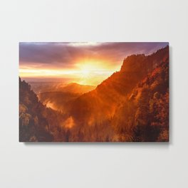 Epic Autumn Sunset Mountain Metal Print