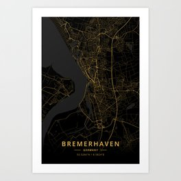 Bremerhaven, Germany - Gold Art Print