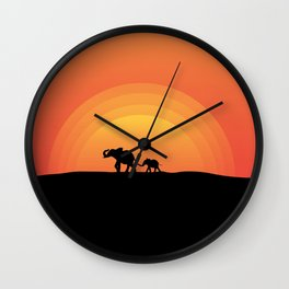 Night series - Walking elephants - Mother and Child Wall Clock