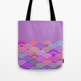 seigaiha wave lilac purple pink colors abstract scales Tote Bag
