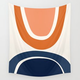 Abstract Shapes 7 in Burnt Orange and Navy Blue Wall Tapestry