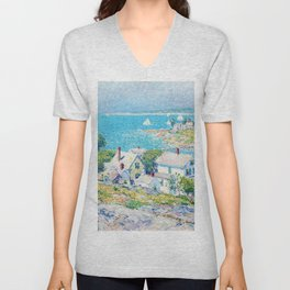 Frederick Childe Hassam - New England Headlands - Digital Remastered Edition Unisex V-Neck
