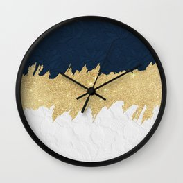 Navy blue white lace gold glitter brushstrokes Wall Clock