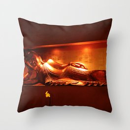 golden buddha, reclining Throw Pillow
