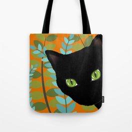 Black Kitty Cat In The Garden Tote Bag
