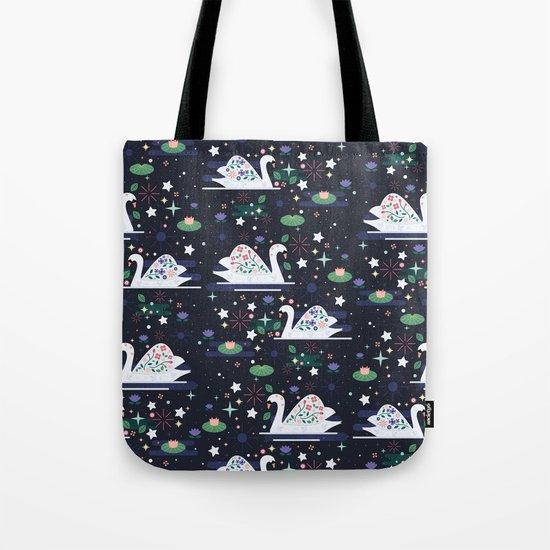 Swans on Stars Tote Bag