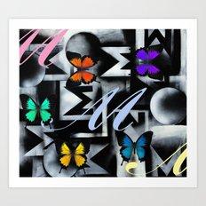 Monarch Butterfly Modern Abstract Painting Rainbow Art Art Print