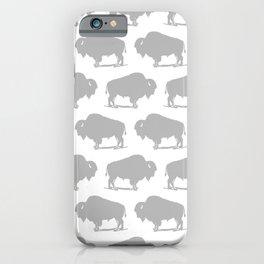 Buffalo Bison Pattern 268 Grey iPhone Case