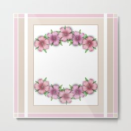 Vintage . Flowers pink Azaleas on a white background . Metal Print