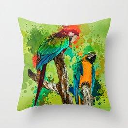 Paint Splashed Macaws Throw Pillow