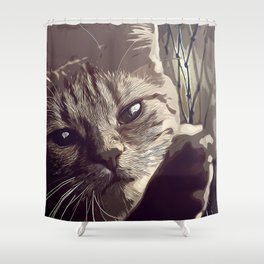 set your cat free vector art natural Shower Curtain