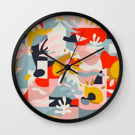 Abstraction in Amalfi / Mid-Century Colorful Shapes Wall Clock