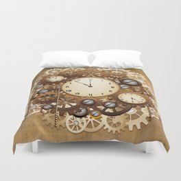 Steampunk Vintage Style Clocks and Gears Duvet Cover