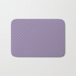 Light Lilac Blue Inclined Stripes Bath Mat