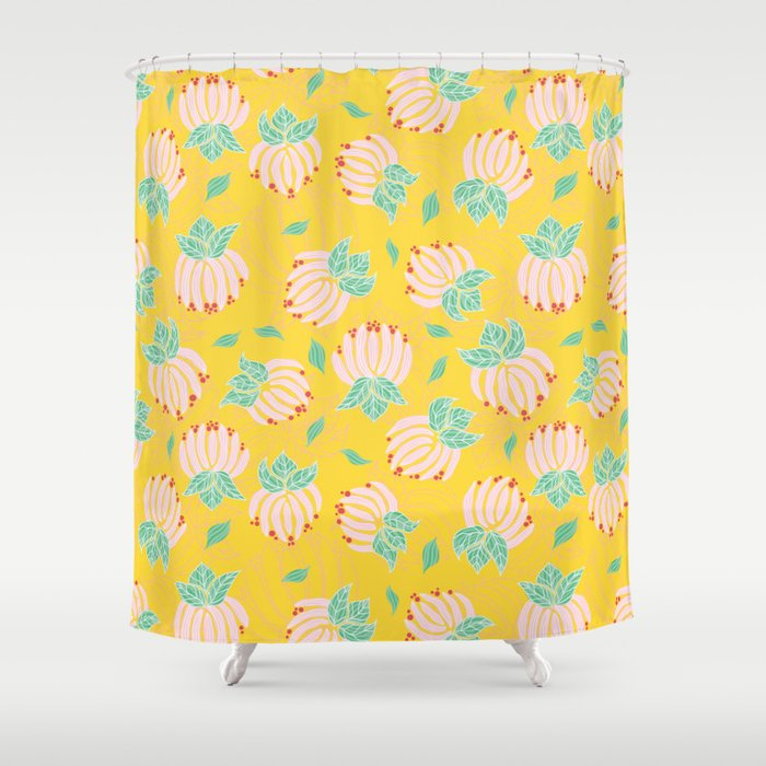 Blush Bloom Peony Lemon Shower Curtain