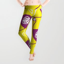 Yellow cabbage roses with plum lozenges Leggings