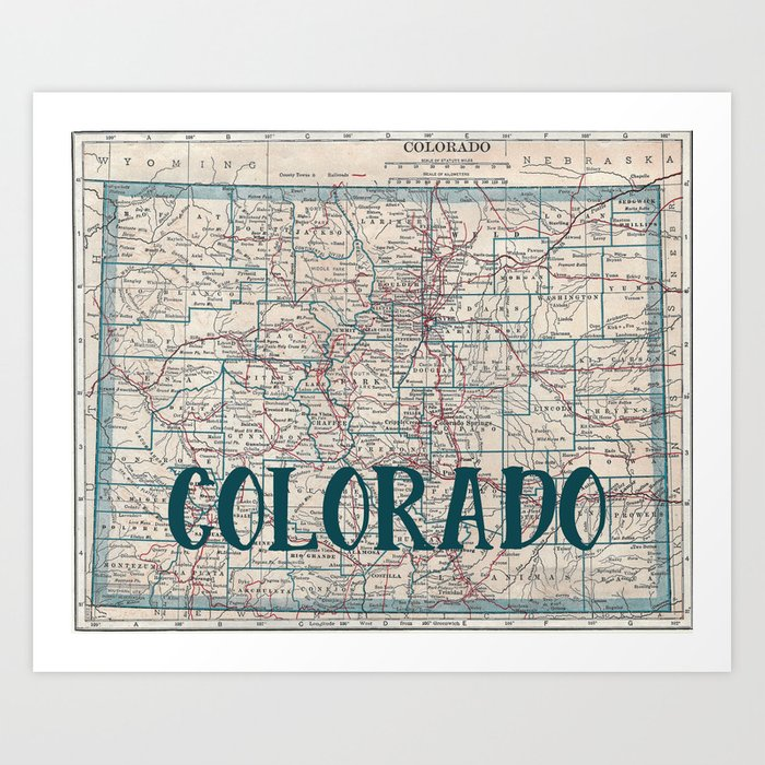 Colorado Map Art.Colorado Map Art Print By Catherineholcombe Society6