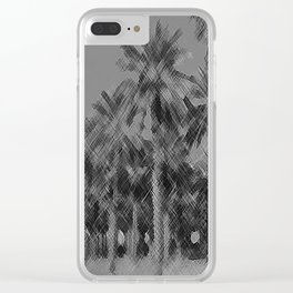 Date Palms in Arizona - Black & White Pencil Drawing Clear iPhone Case