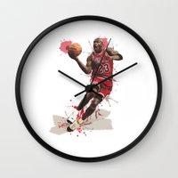 nba Wall Clocks featuring Jordan 23 by Asta Dagmar