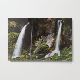 Twin Falls // Colorado Summer Waterfall Mountain Landscape Metal Print