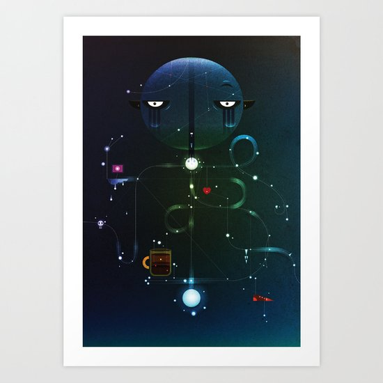 Self Portrait: Raid Boss, Coffee and Constellations Art Print