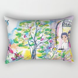 Looking out of the window, illustration for kids, fairytale painting Rectangular Pillow