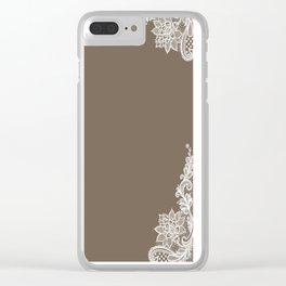 White Lace Mocha Decoration Vintage Lace Brown Retro Lace Henna Print Clear iPhone Case