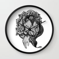 red riding hood Wall Clocks featuring Riding Hood by FLORA+FAUNA