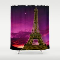 eiffel Shower Curtains featuring Eiffel Tower  by Elena Indolfi