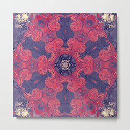 mandala 8 red blue #mandala Metal Print