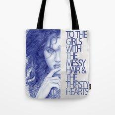 Messy hair &  thirsty hearts Tote Bag