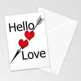 Hello love! White background . Stationery Cards