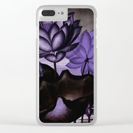 Deep Purple Sacred Egyptian Bean Temple of Flora Clear iPhone Case