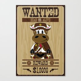 Cow Cowboy Wanted Poster Canvas Print
