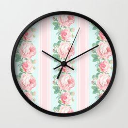 Shabby chic roses pink mint Wall Clock