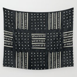 Mud cloth in black and white Wall Tapestry