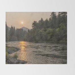 Fire Sunrise on McKenzie River Throw Blanket