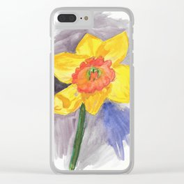 Watercolor Daffodil Clear iPhone Case