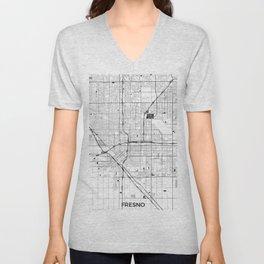 Fresno Map Gray Unisex V-Neck