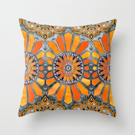 Celebrating the 70's - tangerine orange watercolor on grey Throw Pillow