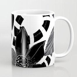 Monochrome Lily flower and snake luxury design black white pattern Coffee Mug