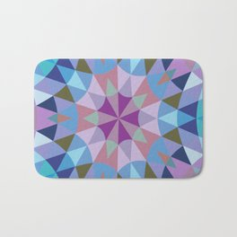 Retro Geometry Mandala Lavender Blue Bath Mat
