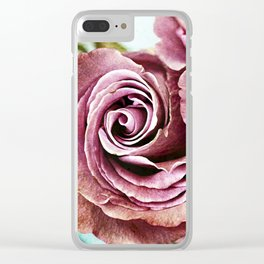 Gritty Vintage Dusty Pink Rose Clear iPhone Case