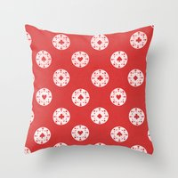 poker Throw Pillows featuring Poker Dots by Leo Canham