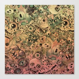 Monster World Washed Canvas Print