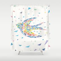swallow Shower Curtains featuring Triangled Swallow  by XOOXOO