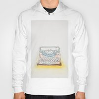 typewriter Hoodies featuring Typewriter by Moe Notsu